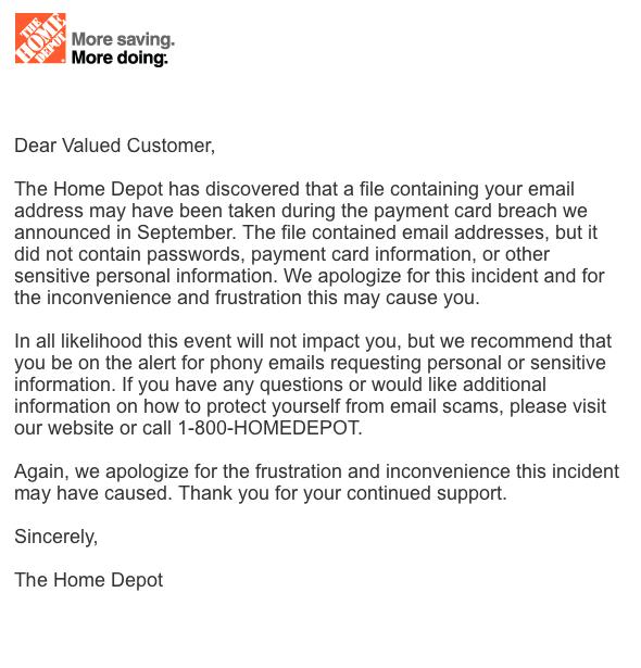 home depot email stolen